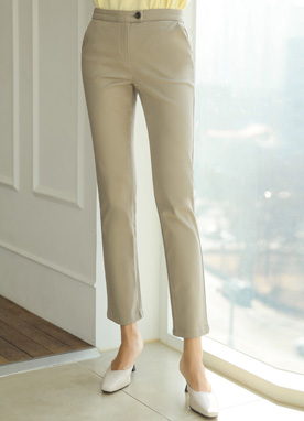 All Day Cotton Straight Leg Slacks, Styleonme