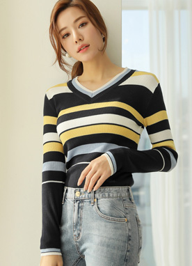 Multi Color Stripe V-Neck Knit Tee, Styleonme
