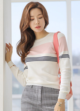 Mix Stripe Round Neck Knit Top, Styleonme