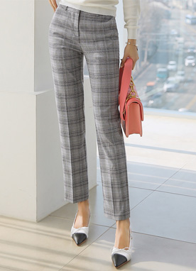 Check Print Straight Leg Slacks, Styleonme