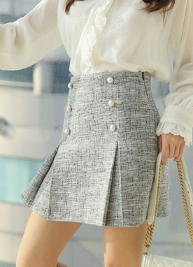Pearl Button Side Pleats Tweed Skort, Styleonme