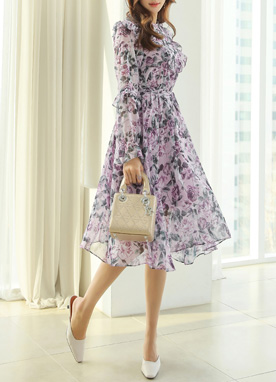 Rose Print Shirred Ruffle Chiffon Dress, Styleonme