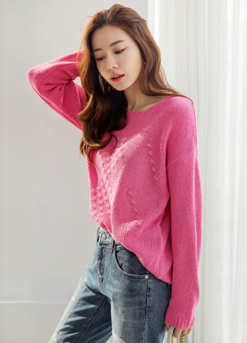 Diamond Motif Boat Neck Knit Sweater, Styleonme