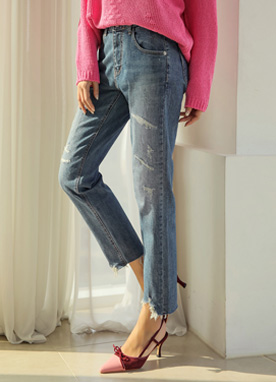 Premium Damaged Straight Leg Baggy Jeans, Styleonme