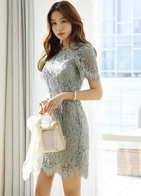 Romantic Floral Lace Scallop Trim Dress, Styleonme
