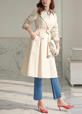 Cream Tone Double-Breasted Trench Coat, Styleonme