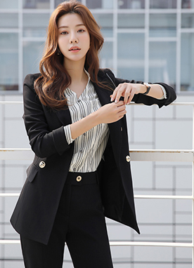 Dressy Stitch Double-Breasted Tailored Jacket, Styleonme