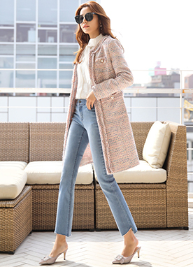 Pearl Button Long Tweed Coat, Styleonme