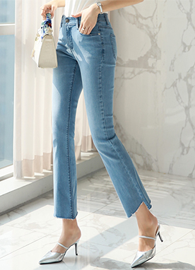 Diagonal Cut Hem Boot-Cut Jeans, Styleonme