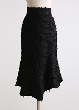 Asymmetrical Flared Feather Skirt, Styleonme