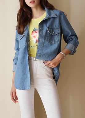 Belt Set Denim Collared Shirt, Styleonme