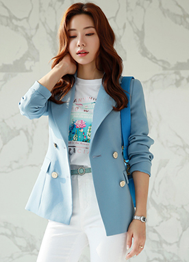 Pastel Double-Breasted Tailored Jacket, Styleonme
