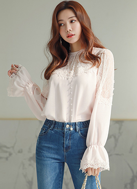 See-through Feminine Lace Chiffon Blouse, Styleonme
