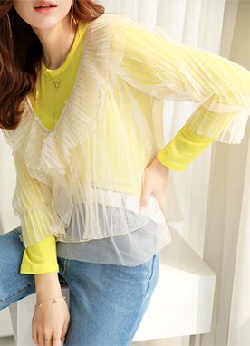 Frill Pleated Detail See-through Lace Blouse, Styleonme