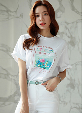 Flower Square Print Short Sleeve T-shirt, Styleonme