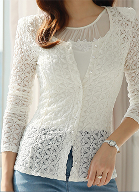 See-through Embroidered Lace Slim Cardigan, Styleonme