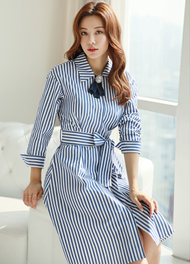 Pinstripe Tie Belt Collared Dress, Styleonme