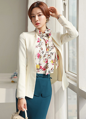 Single Button Slim Collarless Jacket, Styleonme