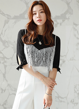 Lace Bustier Knit Tee, Styleonme