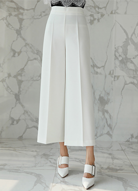 Ankle Length Wide Leg Slacks, Styleonme