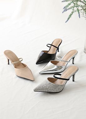 Single Strap Slip-On Pointed Heels, Styleonme