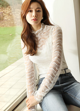 See-through Wavy Lace Blouse, Styleonme