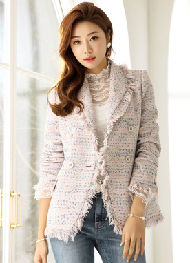 Shawl Collar Double-Breasted Tweed Jacket, Styleonme
