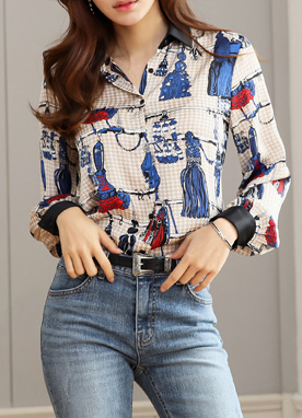 Luxury Tassel Print Collared Blouse, Styleonme