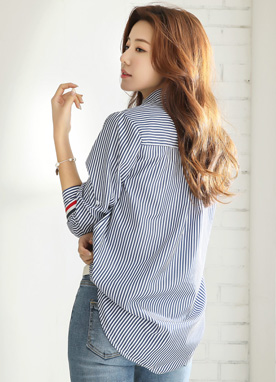 Color Line Trim Pinstripe Collared Shirt, Styleonme