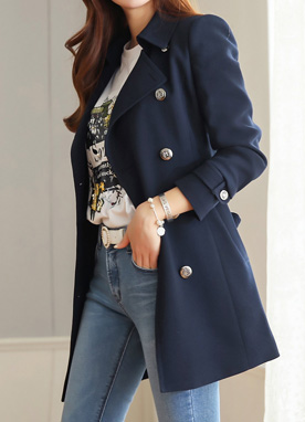 Double-Breasted Silver Button Trench Jacket, Styleonme