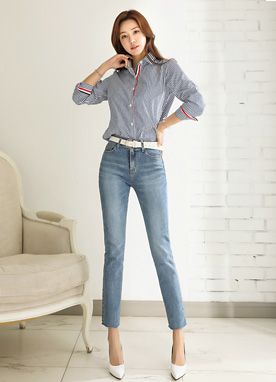 Cut Hem Light Blue Straight Leg Jeans, Styleonme