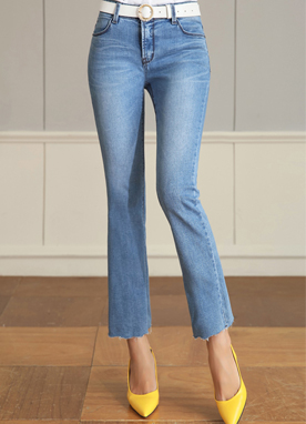 Light Blue Wash Boot-Cut Jeans, Styleonme