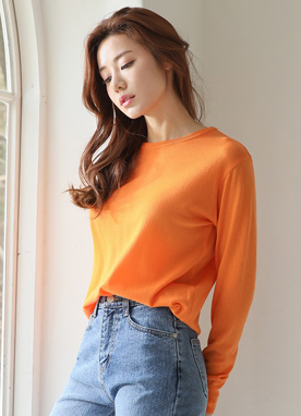 Round Neck Knit Top, Styleonme