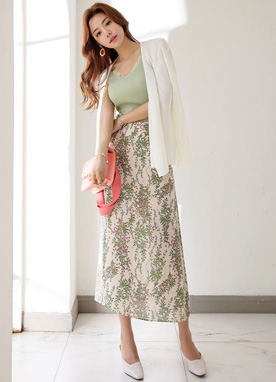 Leaf Print Long Skirt, Styleonme