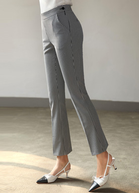 Side Button Straight Leg Slacks, Styleonme