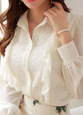 Floral Lace Frill Sleeve Collared Blouse, Styleonme