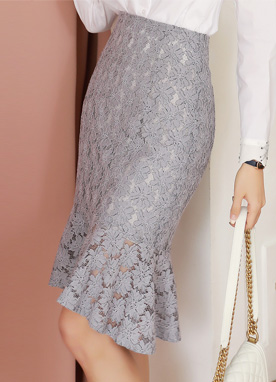 Floral Lace Flounced Skirt, Styleonme