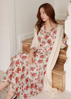Rose Print V-Neck Maxi Dress, Styleonme