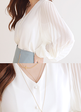 Pleated Sleeve V-Neck Chiffon Blouse, Styleonme
