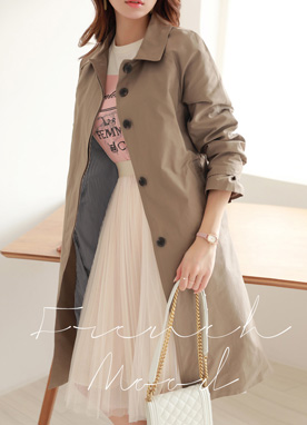 Single-Breasted Belted Trench Coat, Styleonme