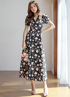 Rose Print Collared Long Dress, Styleonme