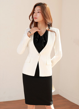 Contrast Color Trim Collarless Jacket, Styleonme