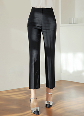 Side Slit Straight Leg Slacks, Styleonme