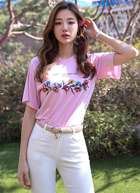 Flower Embroidered Short Sleeve Round Neck Tee, Styleonme
