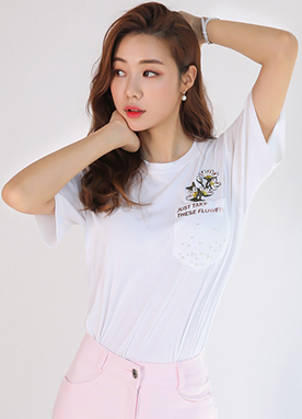 Flower Embroidered Pocket Detail Short Sleeve Tee, Styleonme