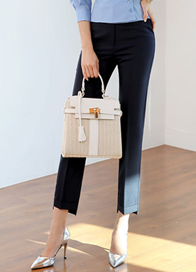 Step Hem Ankle-length Straight Leg Slacks, Styleonme