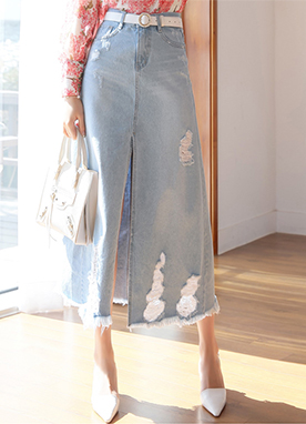 Destroyed Front Slit Long Denim Skirt, Styleonme