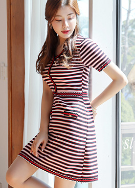 Color Stripe V-Neck Knit Dress, Styleonme