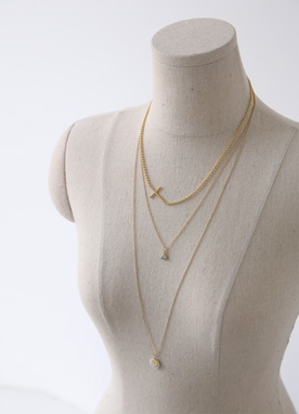 2set Marble Layered Necklace, Styleonme
