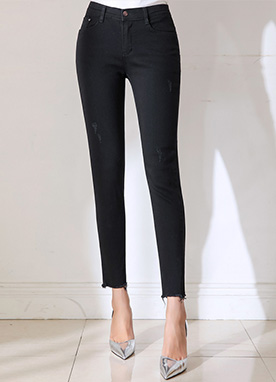 True Black Destroyed Skinny Jeans, Styleonme